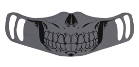 A washable and reusable gray polyester skull face printed cloth face mask with two ear holes by each side